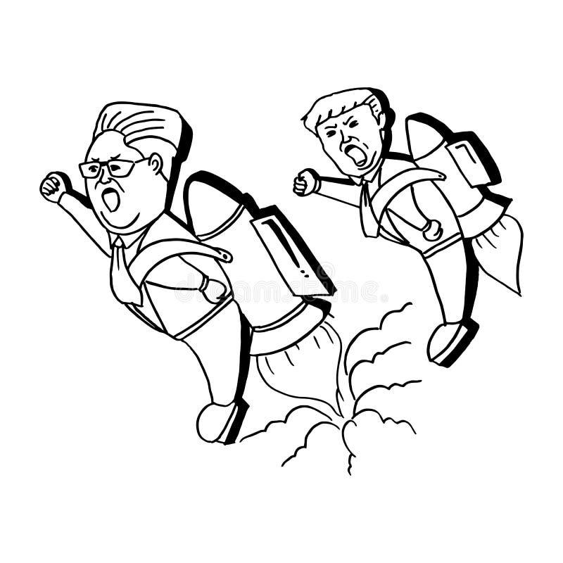 Północno-koreański lidera Kim UN i USA prezydenta Donald atutu latanie używać rakietowa czarny i biały ręka rysującą kreskówkę Ma royalty ilustracja