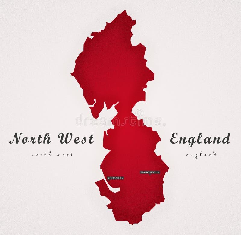 Północno Zachodni Anglia sztuki mapa royalty ilustracja