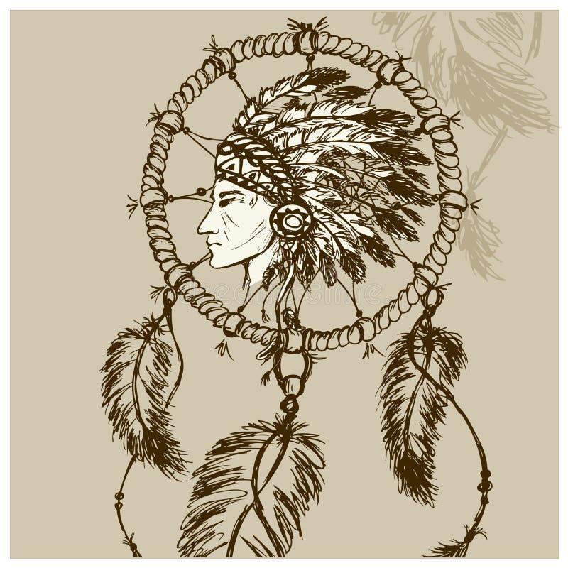 Północnoamerykański indianin z Dreamcatcher ilustracja wektor