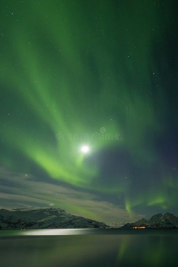 Północny światło wybucha zieleń nad śniegiem nakrywał góry zdjęcie stock