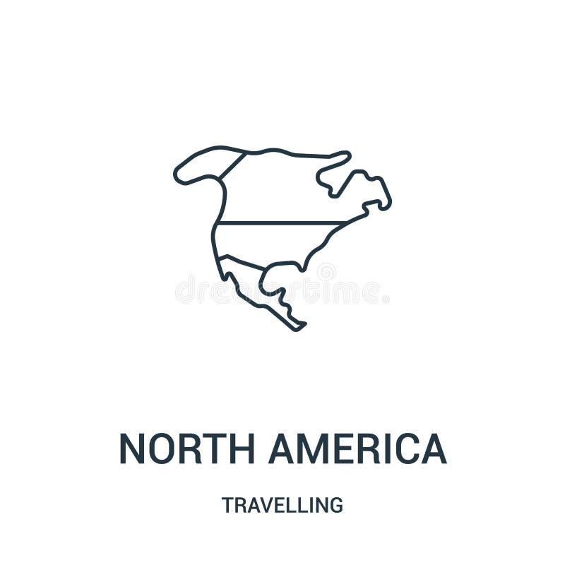 północny America ikony wektor od podróżnej kolekcji Cienka kreskowa północna America konturu ikony wektoru ilustracja Liniowy sym royalty ilustracja