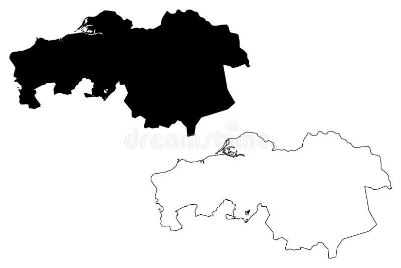 Północny Brabant gubernialny królestwo holandie, Holandia mapy wektorowa ilustracja, skrobaniny nakreślenia Brabant mapa ilustracja wektor