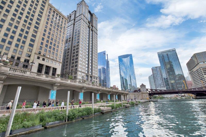 Północny Chicagowski Rzeczny Riverwalk na północy gałąź Chicagowskiej rzece ja fotografia royalty free