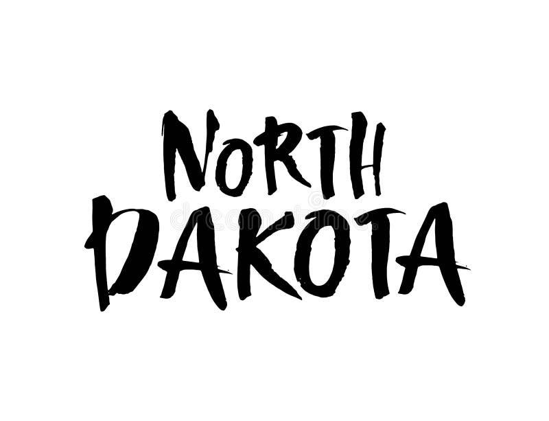 Północny Dakota Amerykański stan Szczotkarski literowanie Nowożytna atrament kaligrafia Ręka rysująca wektorowa ilustracja ilustracja wektor