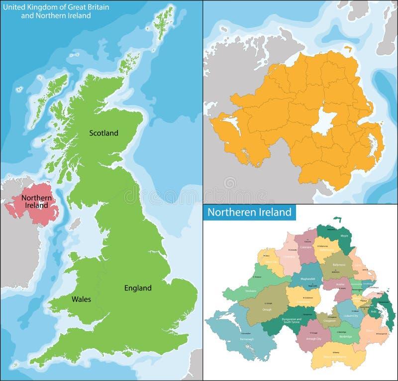Północny - Ireland mapa ilustracja wektor