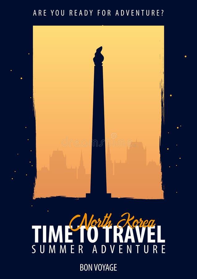 Północny Korea czas podróży Podróż, wycieczka, wakacje Księżyc tło Bon podróż royalty ilustracja
