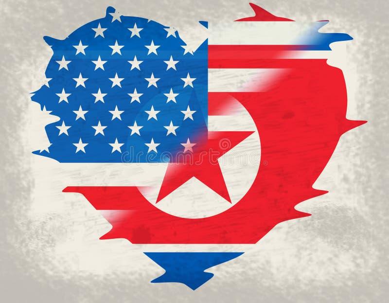 Północny Korea I Amerykańska dyplomacja Zaznaczamy 3d ilustrację ilustracji