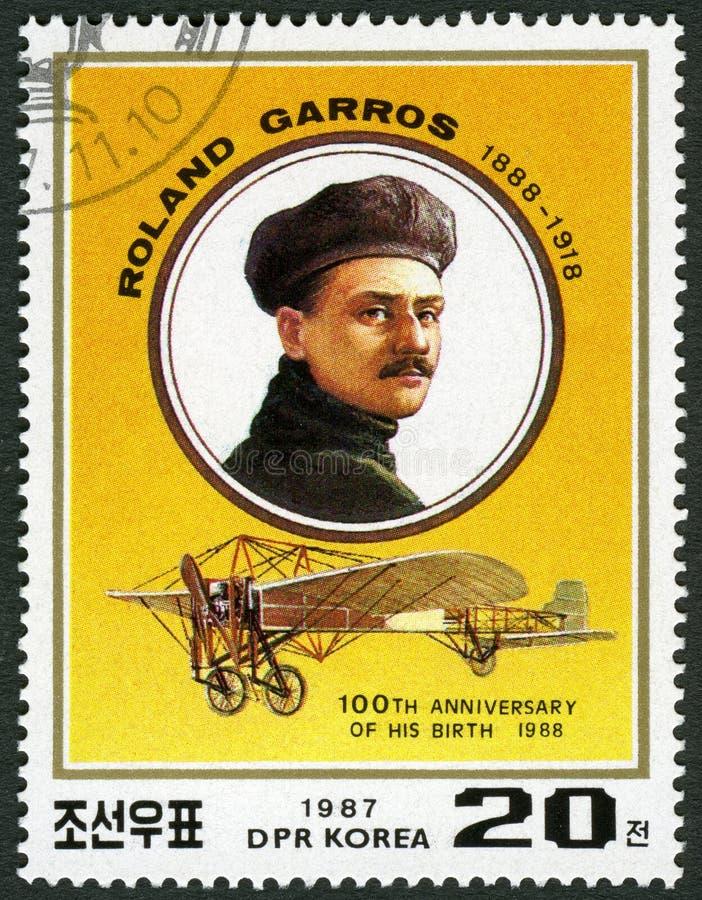 PÓŁNOCNY KOREA - 1987: przedstawienia Eugene Adrien Roland Georges Garros 1888-1918, Francuski lotnik obraz royalty free