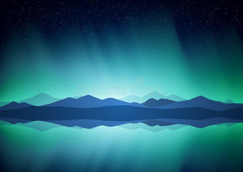 Północny krajobraz z zorzą, jeziorem i górami na horyzoncie, ilustracja wektor