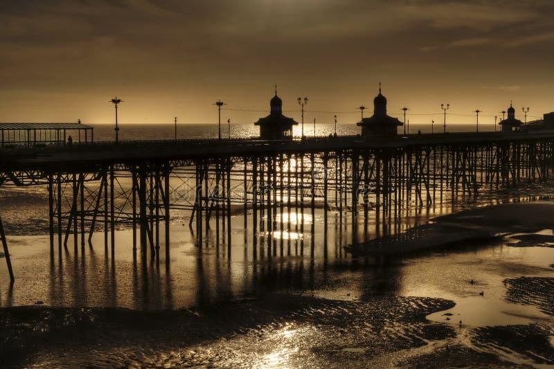 Północny molo, Blackpool. Anglia, przy odpływu przypływem obrazy royalty free