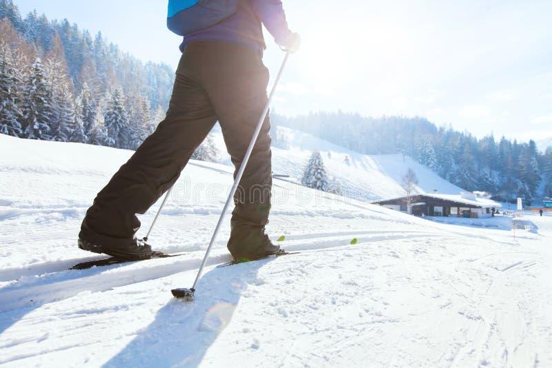 Północny narciarstwo, zima wakacje w Alps, przecinający kraj narciarka obrazy stock