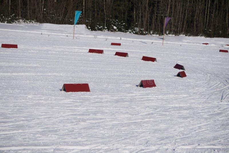 Północny narta ślad dla klasyka w pięknej zimie areal - bawi się aktywną fotografię z przestrzenią dla twój montażu fotografia stock