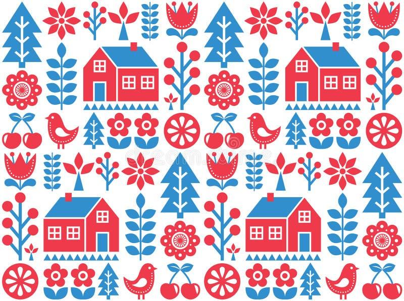 Północny, skandynaw inspirował ludowej sztuki bezszwowego wzór - Fiński projekt w błękicie i czerwieni ilustracja wektor