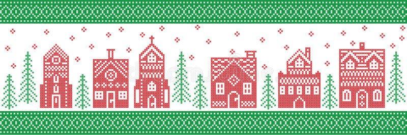 Północny styl i inspirujący skandynawa krzyża ściegu rzemiosła wesoło bożych narodzeń wzorem w czerwieni, białej zieleń z zimy kr royalty ilustracja