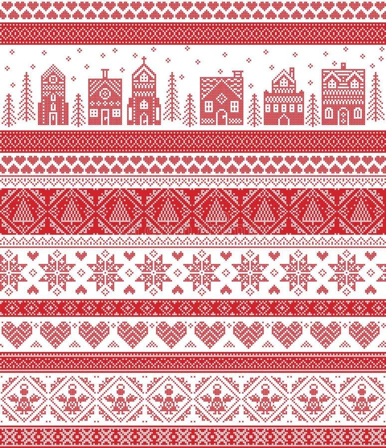 Północny styl i inspirujący skandynawa krzyża ściegu rzemiosła wesoło bożych narodzeń wzorem w czerwonym i białym wliczając zimy  ilustracja wektor