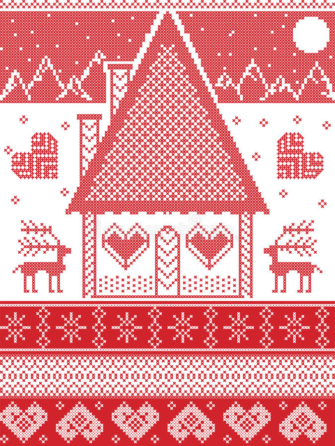 Północny styl, inspirowany Skandynawskich bożych narodzeń deseniową ilustracją w przecinającym ściegu, piernikowy dom, renifer royalty ilustracja
