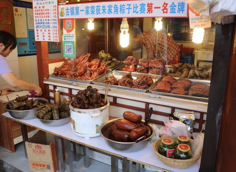 Północny Uliczny Zhujiajiao Antyczny Wodny Grodzki Szanghaj Chiny Azja obrazy stock