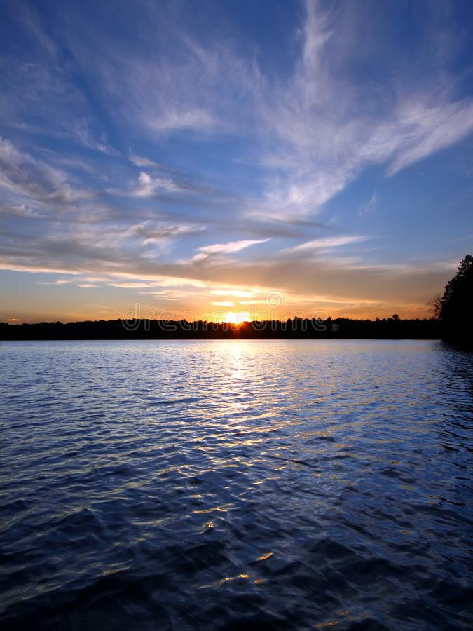 Północny Wisconsin Jeziora Zmierzch zdjęcia royalty free
