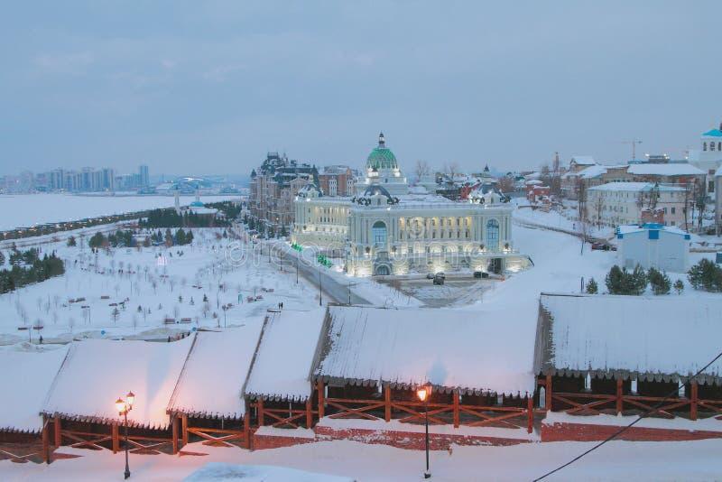 Północny wschód ściana Kremlin i pałac rolnicy kazan Russia obrazy stock