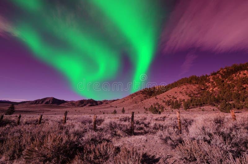 Północnych świateł zorzy borealis w nocnym niebie nad pięknym jezioro krajobrazem obraz stock