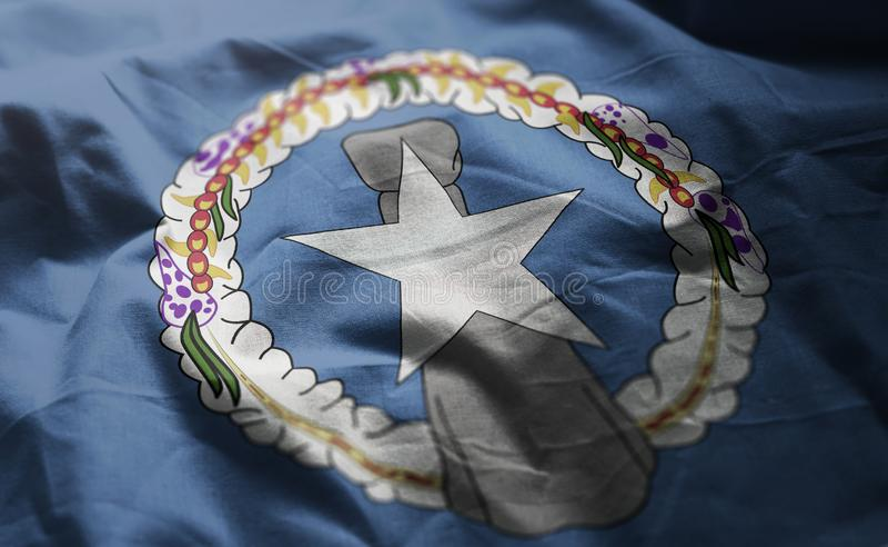 Północnych Mariana wysp flaga Miętoszący zakończenie W górę fotografia stock