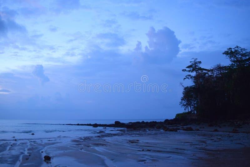 Północy błękita krajobraz Naturalny tło - Sitapur plaża, Neil wyspa, Andaman Nicobar, India - morze, niebo, sylwetki drzewa - fotografia stock