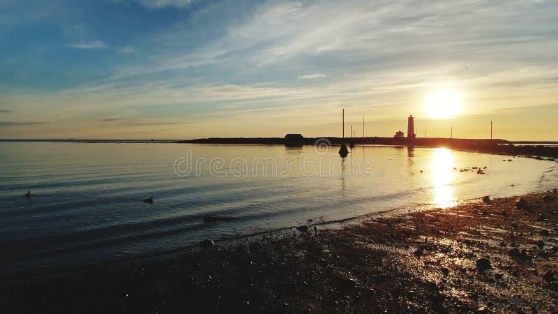 Północy słońce przy latarnią morską & x22; Grà ³ tta& x22; zdjęcie royalty free