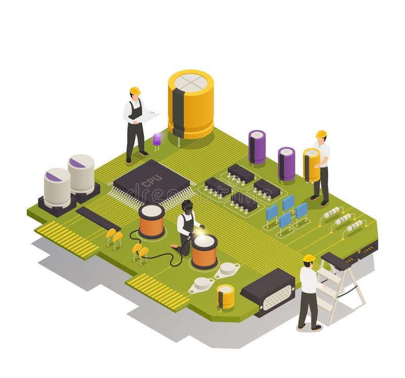 Półprzewodników Elektronicznych składników Isometric skład ilustracja wektor