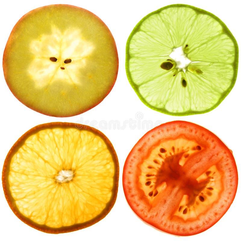 półprzezroczyści owoc plasterki zdjęcie stock