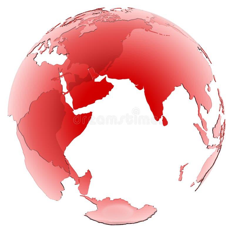 Półprzezroczysta Czerwona Szklana kula ziemska na białym tle ilustracja wektor