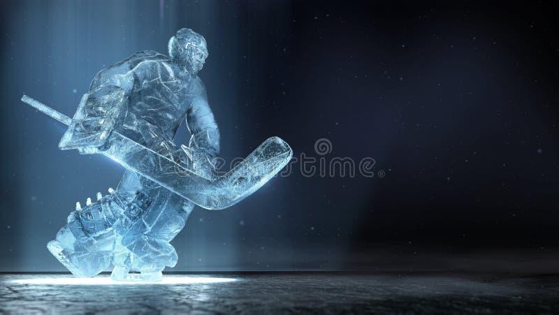 Półprzezroczysta ise rzeźba hokeja na lodzie bramkarz w dinamic pozie z dramatycznymi światła i pyłu cząsteczkami w powietrzu hok ilustracja wektor