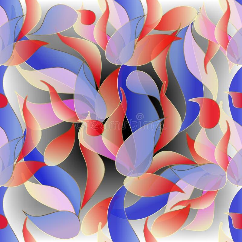 Półprzezroczysty kolorowy Paisley kwitnie bezszwowego wzór Wektorowy ornamentacyjny kwiecisty rozjarzony tło R?ka rysuj?cy doodle ilustracji