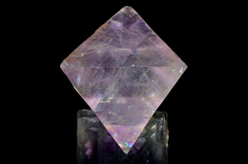 Półprzezroczysty Purpurowy fluorytu ośmiościan zdjęcia stock