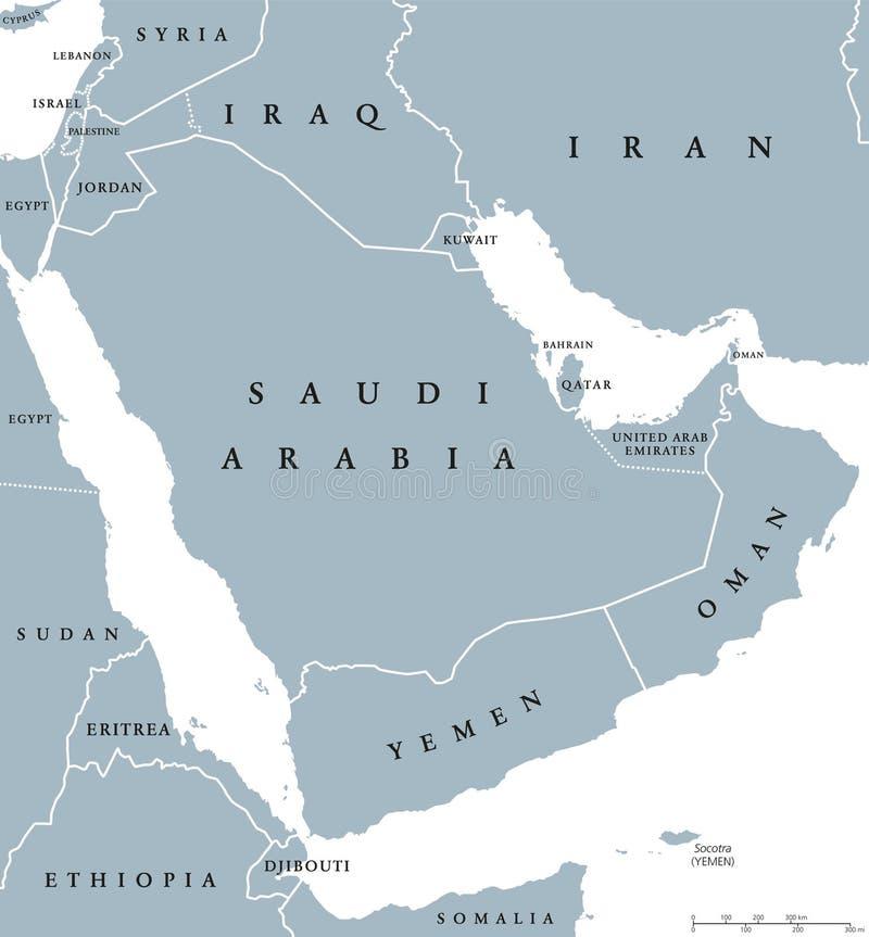 Polwysep Arabski Polityczna Mapa Ilustracja Wektor Ilustracja