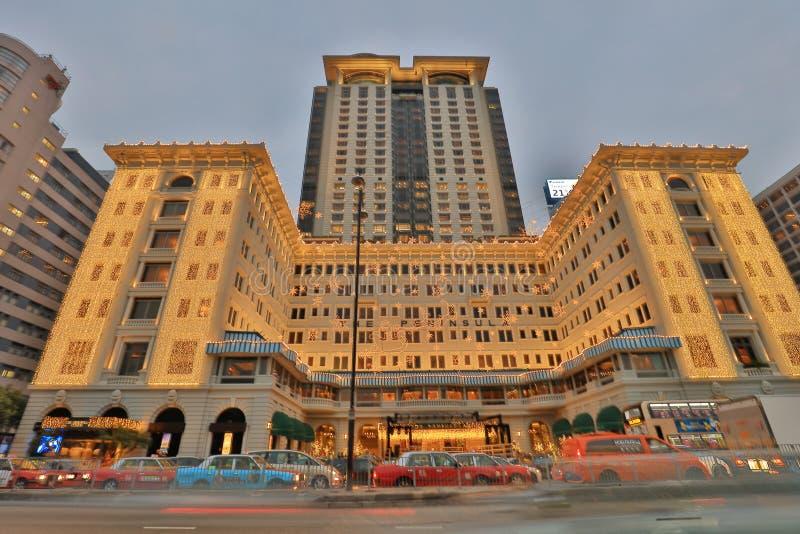 Półwysepów hoteli/lów nocy widok, Hong Kong obrazy stock