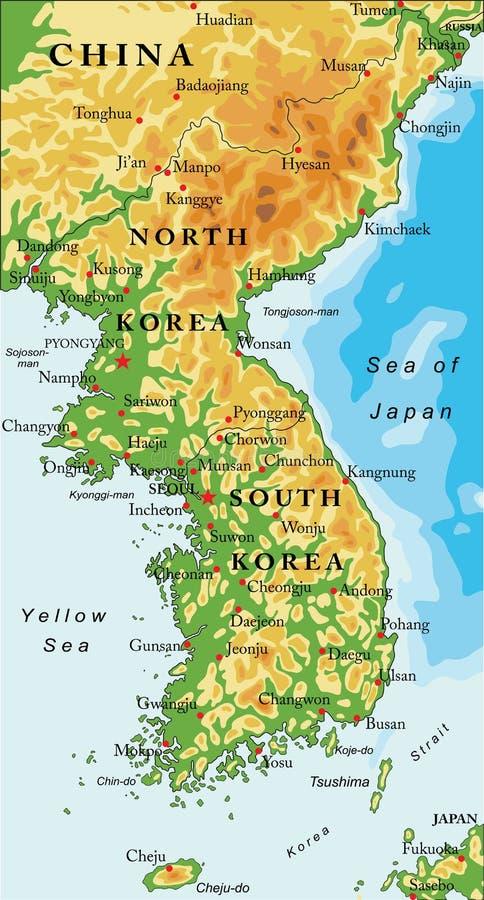 Półwysep Koreański reliefowa mapa ilustracja wektor