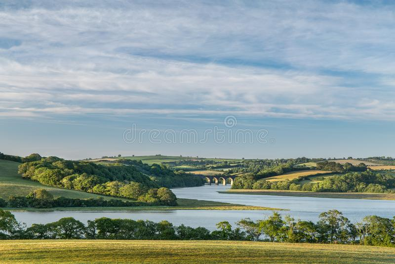 Późnego Popołudnia światło, Notter wiadukt, Rzeczny Lynher, Cornwall obrazy stock