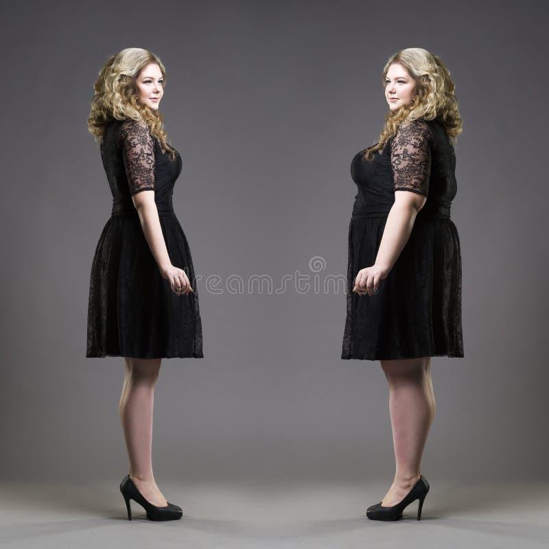 Póżniej zanim strata ciężaru pojęcie, plus rozmiar i schudnięcie modele w czerni sukniach na szarym tle, zdjęcie royalty free