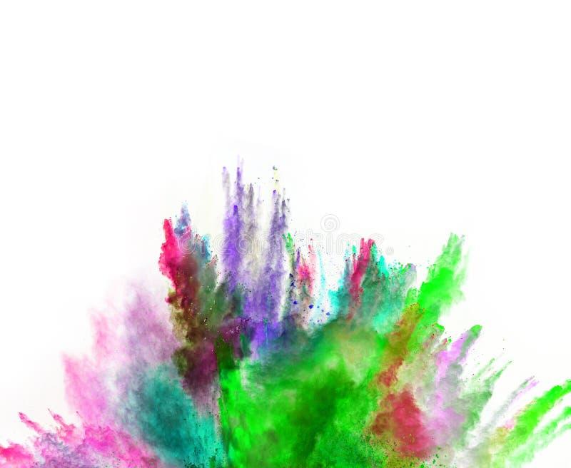 Pó colorido lançado no fundo branco foto de stock