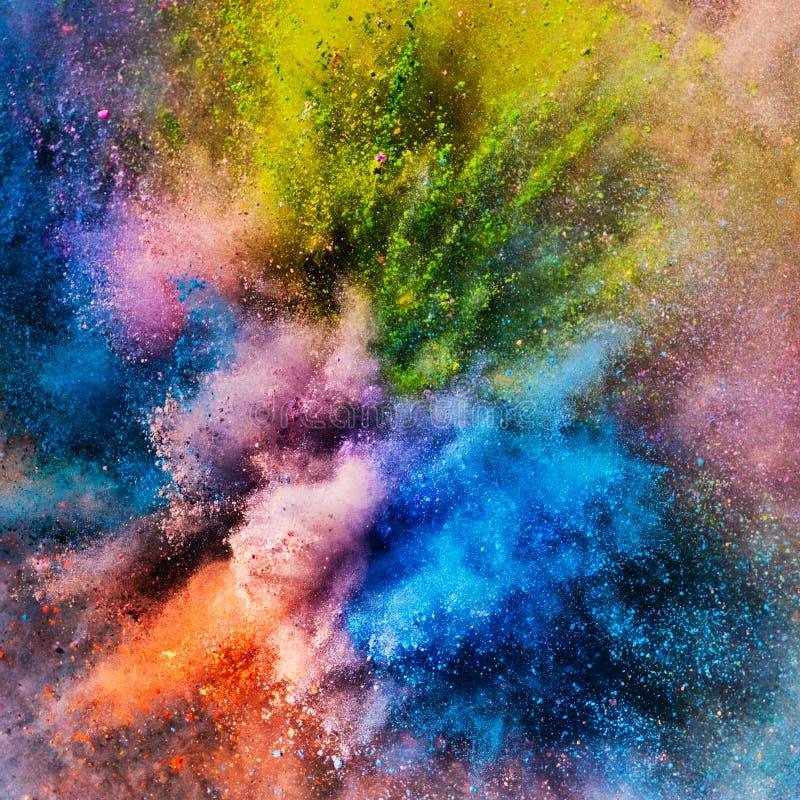 Pó colorido vívido do holi em uma explosão imagem de stock royalty free