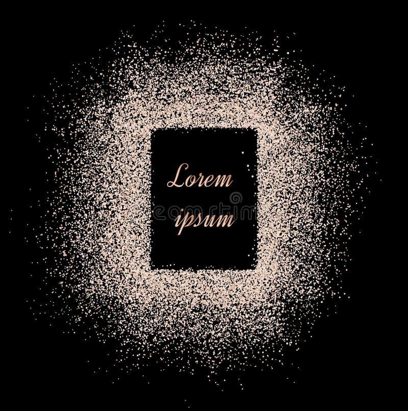 Pó com sparkles em um contexto preto Backgro brilhante abstrato ilustração stock