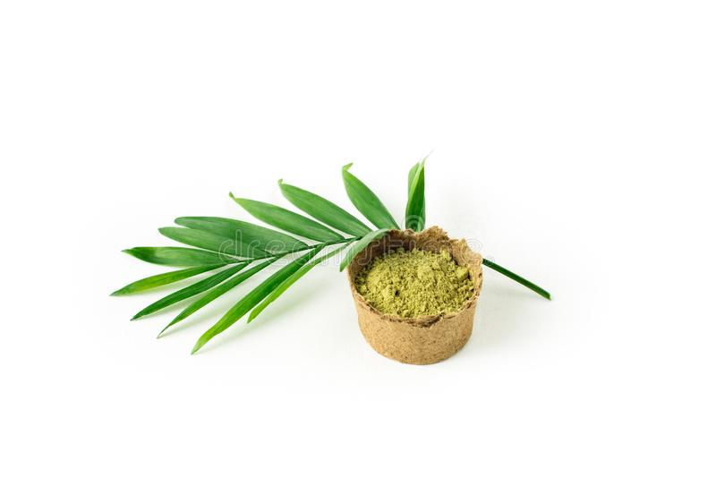 Pó da hena para o mehendi de tingidura do cabelo e das sobrancelhas e da tiragem nas mãos, com folha de palmeira verde fotografia de stock royalty free
