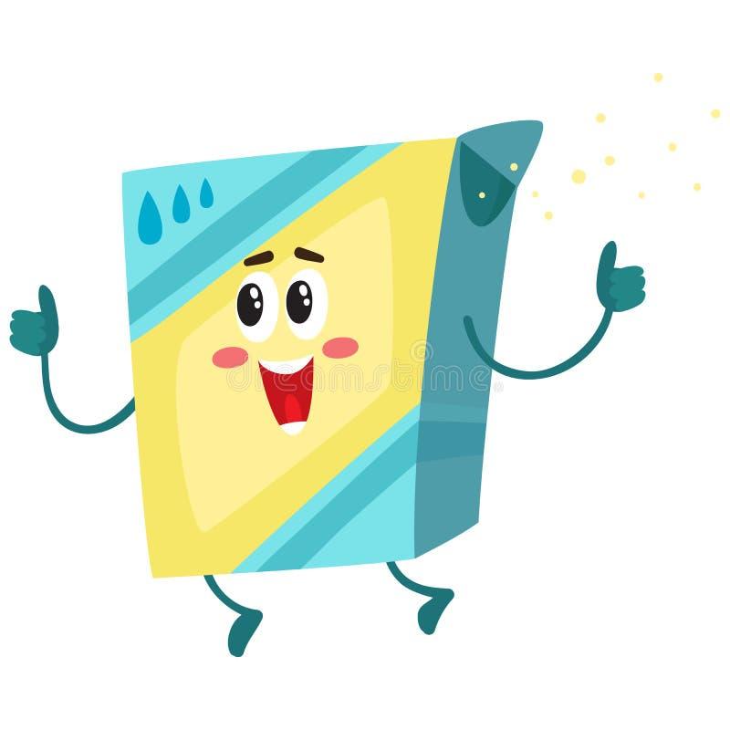 Pó de lavagem engraçado, caráter do detergente para a roupa com rosto humano de sorriso ilustração stock