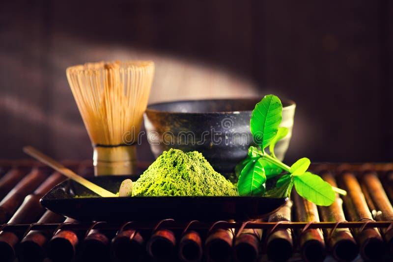 Pó de Matcha Cerimônia de chá verde orgânica do matcha imagem de stock