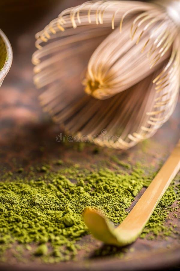 Pó do chá verde imagem de stock