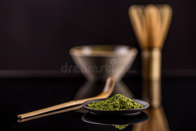 Pó do verde de Macha imagens de stock