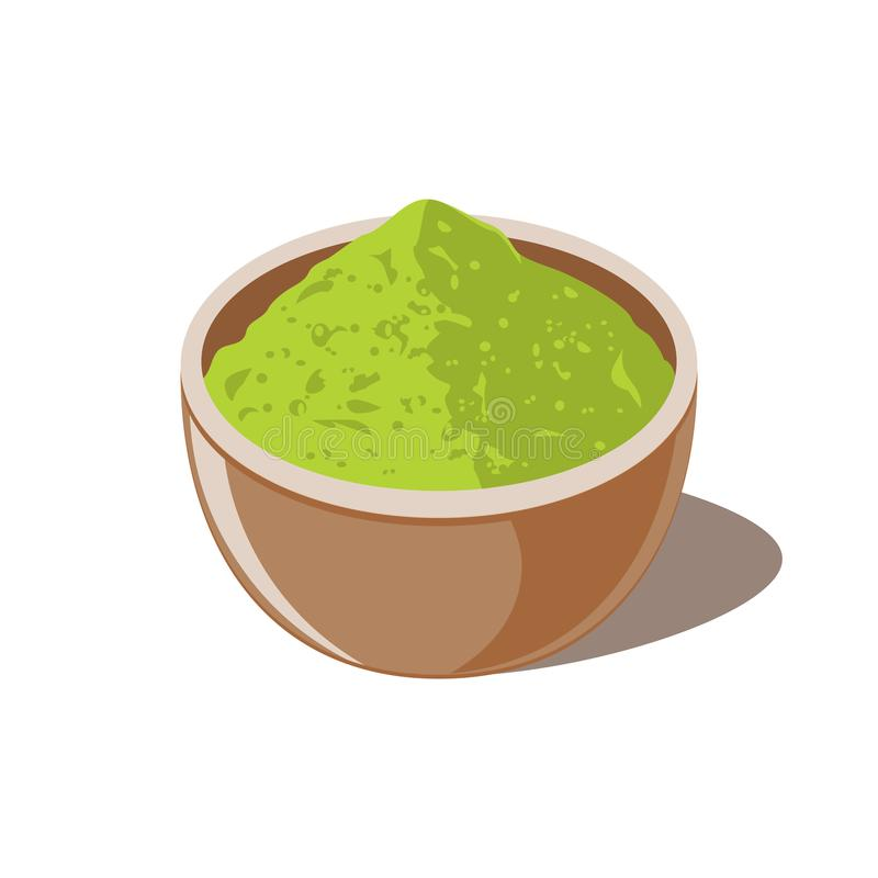 Pó e bacia do verde de Matcha ilustração royalty free