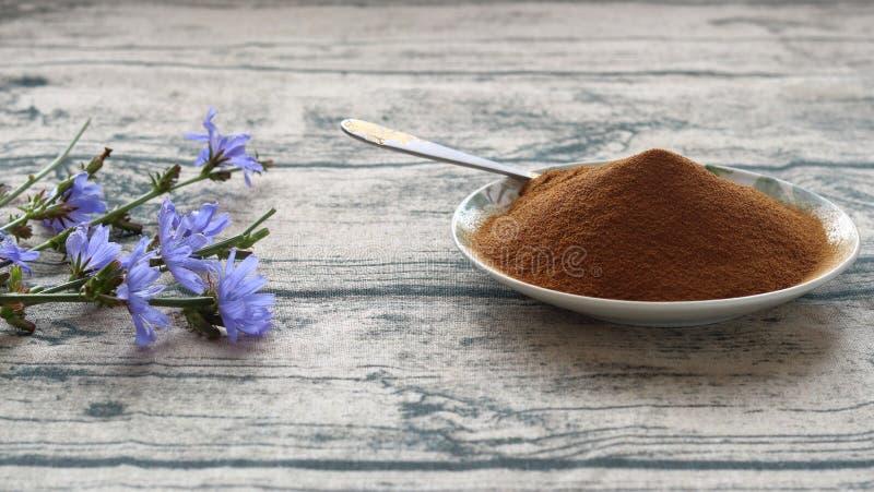 Pó e flores da chicória fotografia de stock