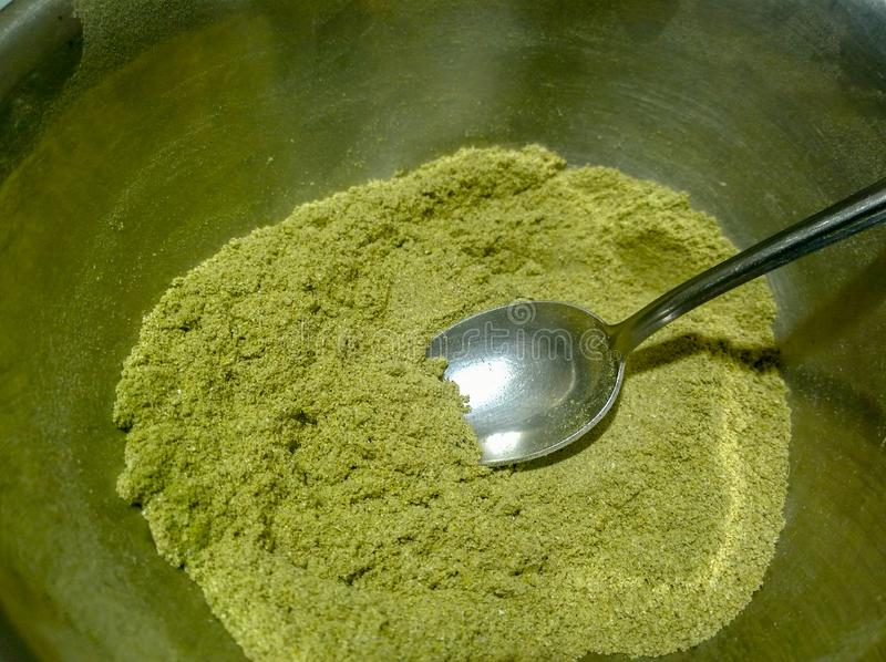 Pó erval do verde de Ubtan - de Ayurvedic fotografia de stock