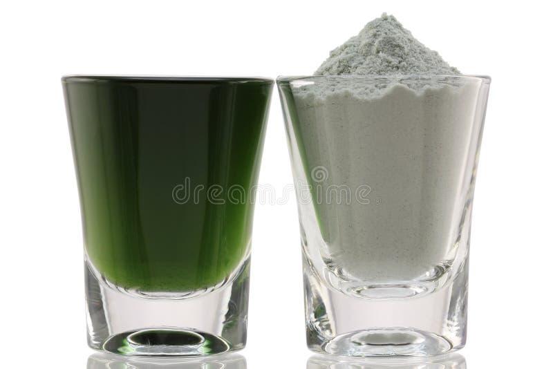 Pó fino da clorofila e misturado com água fotografia de stock